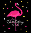 colorful cartoon pink flamingo on a beautiful vector image vector image