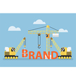 Construction site crane building big brand word vector image