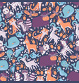 cute animals in seamless pattern vector image vector image