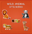 cute cartoon wild animals on sticker vector image vector image