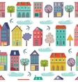 Cute city seamless background vector image vector image
