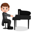 cute little boy cartoon playing piano vector image