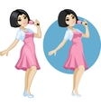 Cute young Asian woman singer vector image vector image
