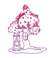 degraded outline tree with window and cute bear vector image vector image
