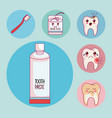 dental care set icons vector image