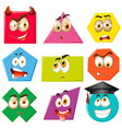 Different shapes with facial expressions vector image vector image