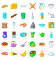 dish icons set cartoon style vector image vector image