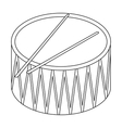 Drum icon in outline style isolated on white vector image