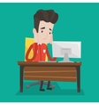 Exhausted sad employee working in office vector image vector image