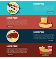 Fast food 4 horizontal banners set with colorful vector image vector image