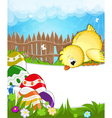 Fluffy chicken in a meadow vector image vector image