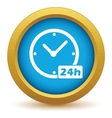 Gold clock icon vector image vector image