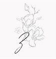 handwritten line drawing floral logo monogram z vector image vector image