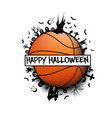 happy halloween and basketball ball vector image vector image