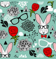 hipster rabbits in glasses endless background vector image