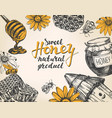 honey frame design elements set detailed vector image