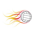 isolated volleyball ball with a fire effect vector image