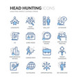 line head hunting icons vector image