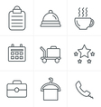 Line Icons Style Hotel and Hotel Services Icons wi vector image