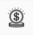 outline coin dollar icon isolated on transparent vector image