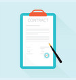 paper deal contract with pen on desk vector image