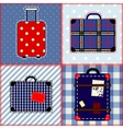 Patchwork quilt with suitcases vector image vector image