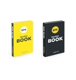 Realistic black and yellow books on the white vector image