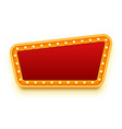 red and gold sign frame with light bulbs vector image vector image