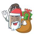 santa with gift milkshake mascot cartoon style vector image vector image