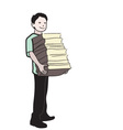 schoolboy books vector image vector image