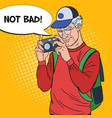 senior man taking picture with camera pop art vector image vector image