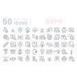 set line icons gdpr vector image