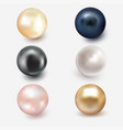 set of beautiful shiny sea pearl vector image vector image