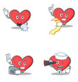 set of heart character with waiter menu photo vector image vector image