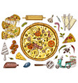 set pizza with cheese yummy italian vegetarian vector image
