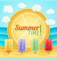 summer beach sand sea fruit ice holiday tour vector image vector image