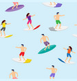 surfers on surfboards in sea waves seamless vector image vector image
