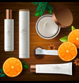 top view of cosmetic products with ingredient vector image