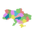 ukraine with regions on white background flat vector image vector image