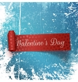 Valentines Day red Scroll Label with Text vector image
