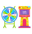 wheel fortune and slot machine with game over vector image vector image