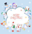 winter holidays snowman vector image