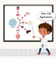 young scientist explaining stem cell applications vector image vector image