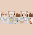 banners with restaurant interior people vector image