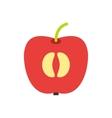 Half of fresh red apple flat icon vector image