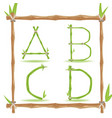 bamboo letter alphabet green set a vector image vector image