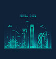 beijing skyline china linear style city vector image vector image