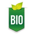 Bio ribbon with leaf green vector image vector image
