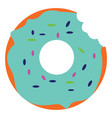 bitten blue donut on white background vector image vector image
