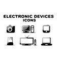 Black glossy electronic devices icon set vector image